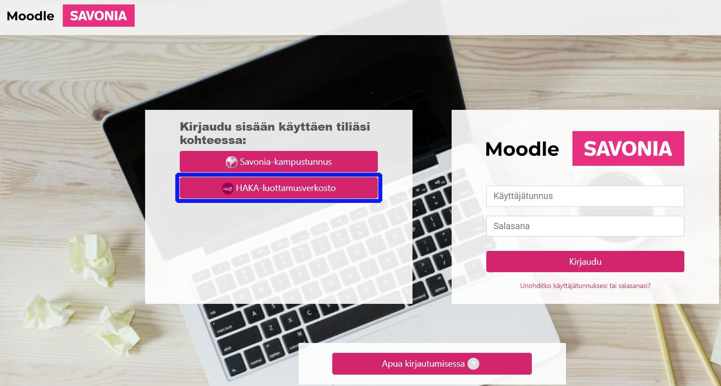 Savonian Moodlen kirjautumisikkuna - HAKA-luottamusverkosto