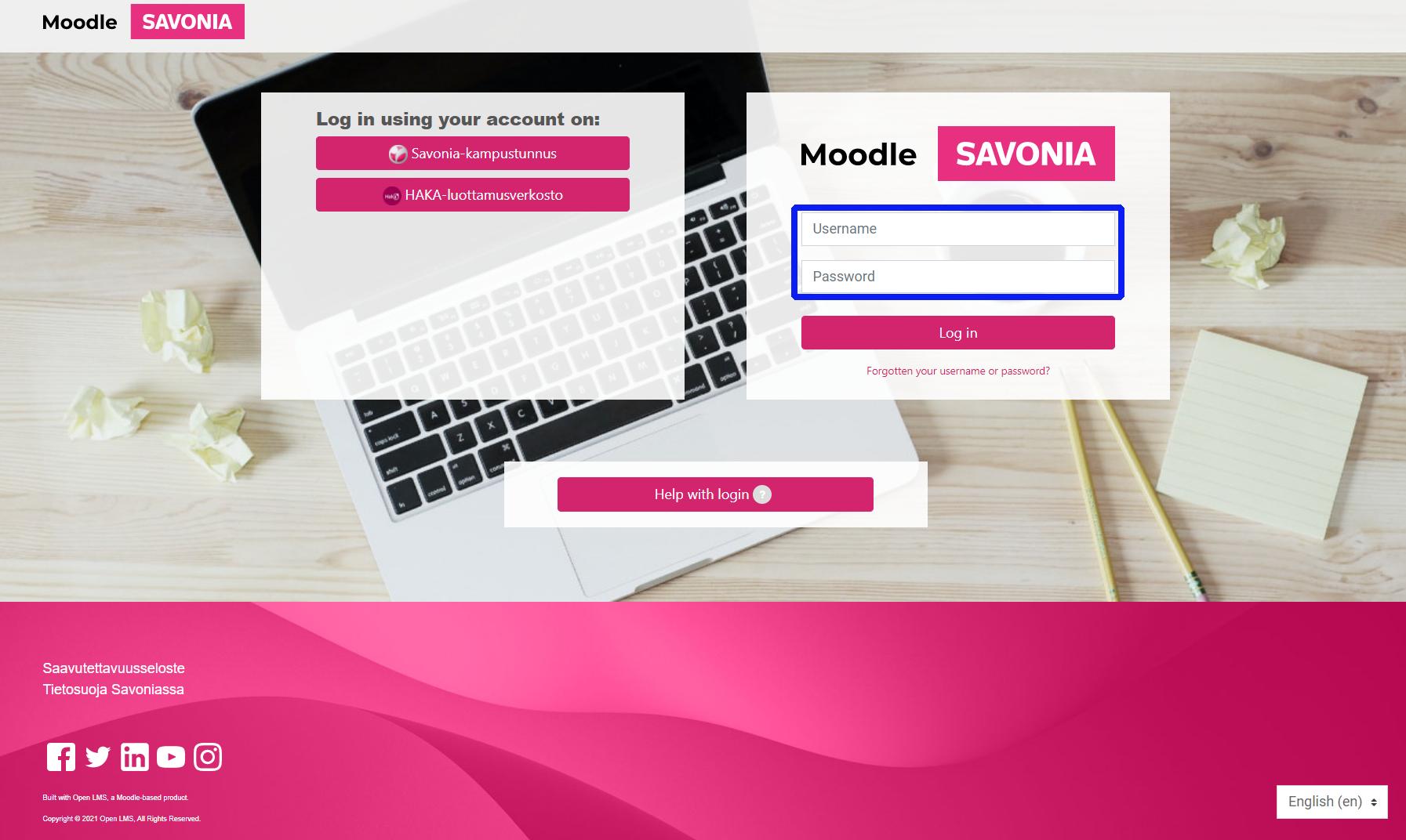 Moodle login - manually created account