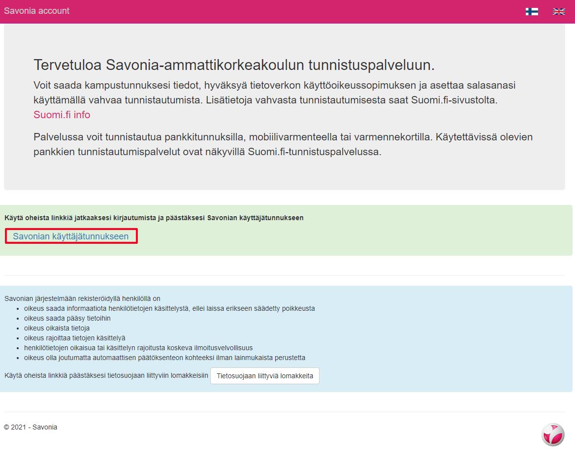 Linkki Savonia-ammattikorkeakoulun tunnistuspalveluun.