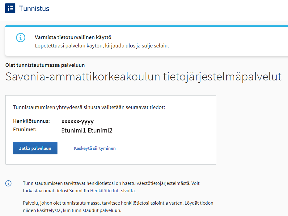 Suomi.fi omien tietojen tarkistus ja linkki Savonian account-palveluun