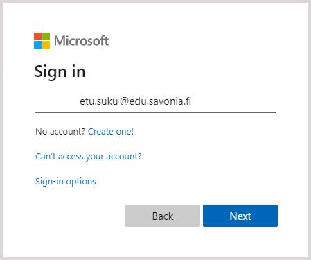 Microsoft Sign in -ikkuna (Savonian sähköpostiosoite)