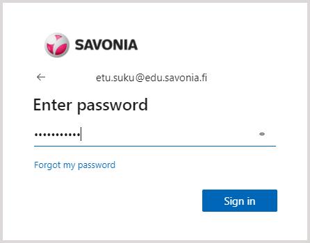Microsoft Sign in -ikkuna (Savonian salasana)