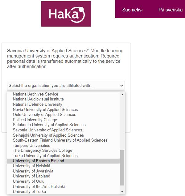 HAKA login - Select your organisation